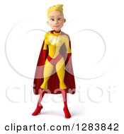 Clipart Of A 3d Blond White Female Super Hero In A Yellow And Red Suit Royalty Free Vector Illustration