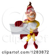 Clipart Of A 3d White Male Yellow And Red Super Hero Holding Up An Envelope Royalty Free Vector Illustration