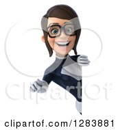 Clipart Of A 3d Bespectacled Brunette White Female Super Hero In A Black And White Suit Pointing Outwards Around A Sign Royalty Free Vector Illustration