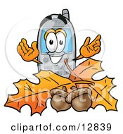 Clipart Picture Of A Wireless Cellular Telephone Mascot Cartoon Character With Autumn Leaves And Acorns In The Fall