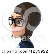 Clipart Of A 3d Avatar Bespectacled Brunette White Female Super Hero In A Black And White Suit Facing Left From The Shoulders Up Royalty Free Vector Illustration