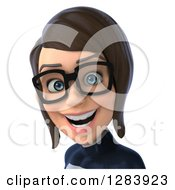 Clipart Of A 3d Avatar Bespectacled Brunette White Female Super Hero In A Black And White Suit Royalty Free Vector Illustration