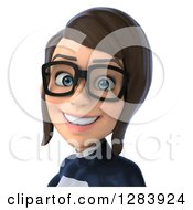 Clipart Of A 3d Avatar Bespectacled Brunette White Female Super Hero In A Black And White Suit Smiling From The Shoulders Up Royalty Free Vector Illustration