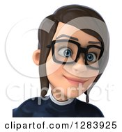 Clipart Of A 3d Avatar Bespectacled Brunette White Female Super Hero In A Black And White Suit Looking Slightly Right From The Shoulders Up Royalty Free Vector Illustration