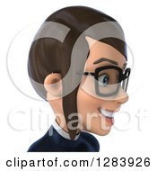 Clipart Of A 3d Avatar Bespectacled Brunette White Female Super Hero In A Black And White Suit Facing Right From The Shoulders Up Royalty Free Vector Illustration