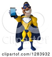 3d Black Super Hero Man In A Blue And Yellow Costume Holding Out A Smart Phone Or Tablet