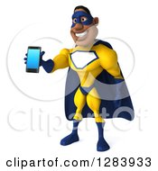 3d Black Super Hero Man In A Blue And Yellow Costume Facing Slightly Left And Holding Out A Smart Phone Or Tablet