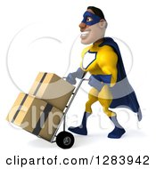 Clipart Of A 3d Black Super Hero Man In A Blue And Yellow Costume Moving Boxes On A Dolly Royalty Free Vector Illustration