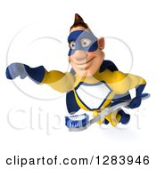 Clipart Of A 3d Male Caucasian Yellow And Blue Super Hero Flying With A Toothbrush Royalty Free Vector Illustration
