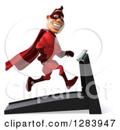 Clipart Of A 3d Caucasian Red Super Hero Man Smiling Facing Right And Running On A Treadmill Royalty Free Vector Illustration