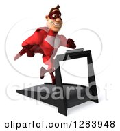 Clipart Of A 3d Caucasian Red Super Hero Man Facing Slightly Right And Running On A Treadmill Royalty Free Vector Illustration