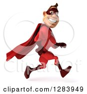 Clipart Of A 3d Caucasian Red Super Hero Man Smiling And Running To The Right Royalty Free Vector Illustration