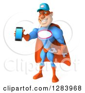 3d White Male Super Hero Mechanic In A Blue And Orange Suit Facing Slightly Left And Holding Out A Smart Cell Phone