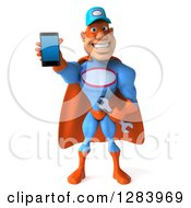 3d White Male Super Hero Mechanic In A Blue And Orange Suit Holding Out A Smart Cell Phone