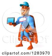 3d White Male Super Hero Mechanic In A Blue And Orange Suit Facing Slightly Left And Holding Out A Tablet Computer