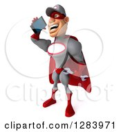 3d White Male Super Hero Mechanic In A Gray And Red Suit Facing Slightly Left And Talking On A Smart Cell Phone
