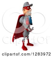 3d White Male Super Hero Mechanic In A Gray And Red Suit Facing Right And Holding Out A Smart Cell Phone