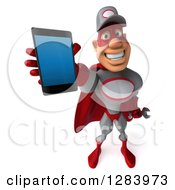 3d White Male Super Hero Mechanic In A Gray And Red Suit Holding Up A Smart Cell Phone