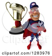Clipart Of A 3d White Male Super Hero Mechanic In A Navy Blue And Red Suit Holding Up A Trophy Royalty Free Vector Illustration