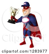 Clipart Of A 3d White Male Super Hero Mechanic In A Navy Blue And Red Suit Facing Left And Holding A Trophy Royalty Free Vector Illustration
