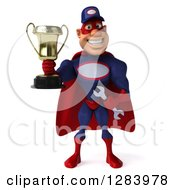 Clipart Of A 3d White Male Super Hero Mechanic In A Navy Blue And Red Suit Holding A Trophy Royalty Free Vector Illustration