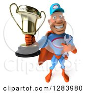 Clipart Of A 3d White Male Super Hero Mechanic In A Blue And Orange Suit Holding Up A Trophy Royalty Free Vector Illustration