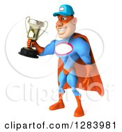 Clipart Of A 3d White Male Super Hero Mechanic In A Blue And Orange Suit Facing Slightly Left And Holding Out A Trophy Royalty Free Vector Illustration