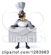 Clipart Of A 3d Caucasian Male Super Chef In A Blue And White Suit Holding A Giant Envelope Royalty Free Vector Illustration