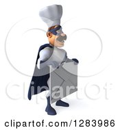 Clipart Of A 3d Caucasian Male Super Chef In A Blue And White Suit Facing Right And Holding A Giant Envelope Royalty Free Vector Illustration