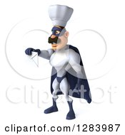 Clipart Of A 3d Caucasian Male Super Chef In A Blue And White Suit Facing Right And Holding Out An Envelope Royalty Free Vector Illustration