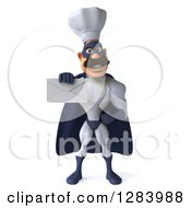 Clipart Of A 3d Caucasian Male Super Chef In A Blue And White Suit Holding Out An Envelope Royalty Free Vector Illustration