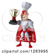 Clipart Of A 3d Caucasian Male Super Chef In A Red And White Costume Facing Slightly Left And Holding A Trophy Royalty Free Vector Illustration