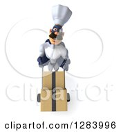 Clipart Of A 3d Caucasian Male Super Chef In A Blue And White Suit Moving Boxes On A Dolly Royalty Free Vector Illustration