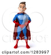 Clipart Of A 3d Young Brunette White Male Super Hero In A Blue And Red Suit With Hands On His Hips Royalty Free Vector Illustration