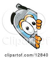 Wireless Cellular Telephone Mascot Cartoon Character Peeking Around A Corner