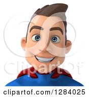Clipart Of A 3d Avatar Of A Smiling Young Brunette White Male Super Hero In A Blue And Red Suit From The Shoulders Up Royalty Free Vector Illustration