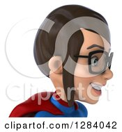 Clipart Of A 3d Avatar Of A Young Bespectacled Brunette White Female Super Hero In A Blue And Red Suit From The Shoulders Up Facing Right Royalty Free Vector Illustration