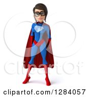 Clipart Of A 3d Young Bespectacled Brunette White Female Super Hero In A Blue And Red Suit Royalty Free Vector Illustration