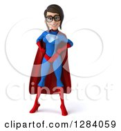 Clipart Of A 3d Young Bespectacled Brunette White Female Super Hero In A Blue And Red Suit With Hands On Her Hips Royalty Free Vector Illustration by Julos