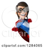 Clipart Of A 3d Young Bespectacled Brunette White Female Super Hero In A Blue And Red Suit Pointing Outwards Around A Sign Royalty Free Vector Illustration