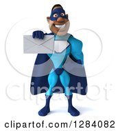 Clipart Of A 3d Black Super Hero Man In A Blue Costume Holding Out An Envelope Royalty Free Vector Illustration
