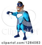 Clipart Of A 3d Black Super Hero Man In A Blue Costume Facing Left And Holding Out An Envelope Royalty Free Vector Illustration