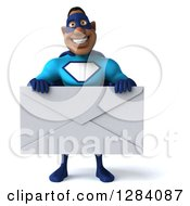 Clipart Of A 3d Black Super Hero Man In A Blue Costume Holding A Giant Envelope Royalty Free Vector Illustration