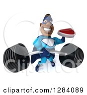 Clipart Of A 3d Black Super Hero Man In A Blue Costume Lifting A Heavy Barbell And Holding A Beef Steak Royalty Free Vector Illustration