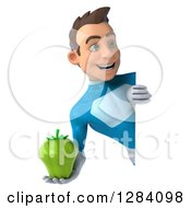 Clipart Of A 3d Young Brunette White Male Super Hero In A Blue Suit Holding A Green Bell Pepper Around A Sign Royalty Free Vector Illustration