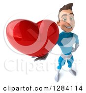 Clipart Of A 3d Young Brunette White Male Super Hero In A Blue Suit Holding Up A Heart Royalty Free Vector Illustration by Julos