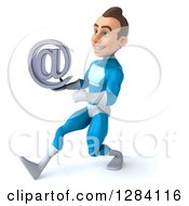 Clipart Of A 3d Young Brunette White Male Super Hero In A Blue Suit Walking To The Left And Holding An Email Arobase At Symbol Royalty Free Vector Illustration by Julos