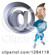 Clipart Of A 3d Young Brunette White Male Super Hero In A Blue Suit Holding Up An Email Arobase At Symbol Royalty Free Vector Illustration by Julos