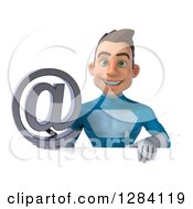 Clipart Of A 3d Young Brunette White Male Super Hero In A Blue Suit Holding An Email Arobase At Symbol Over A Sign Royalty Free Vector Illustration by Julos