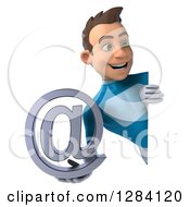 Clipart Of A 3d Young Brunette White Male Super Hero In A Blue Suit Holding An Email Arobase At Symbol Around A Sign Royalty Free Vector Illustration by Julos